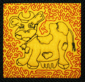 Cow Crazy Trapunto 1 - a-stitch-a-half