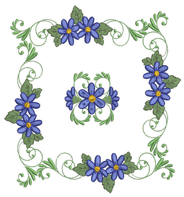 Blue Dew Borders and Corners Flowers - a-stitch-a-half