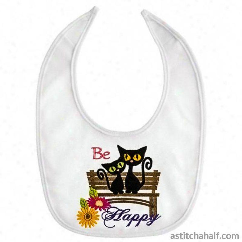 Be Happy Garden Seat with Kittens - a-stitch-a-half