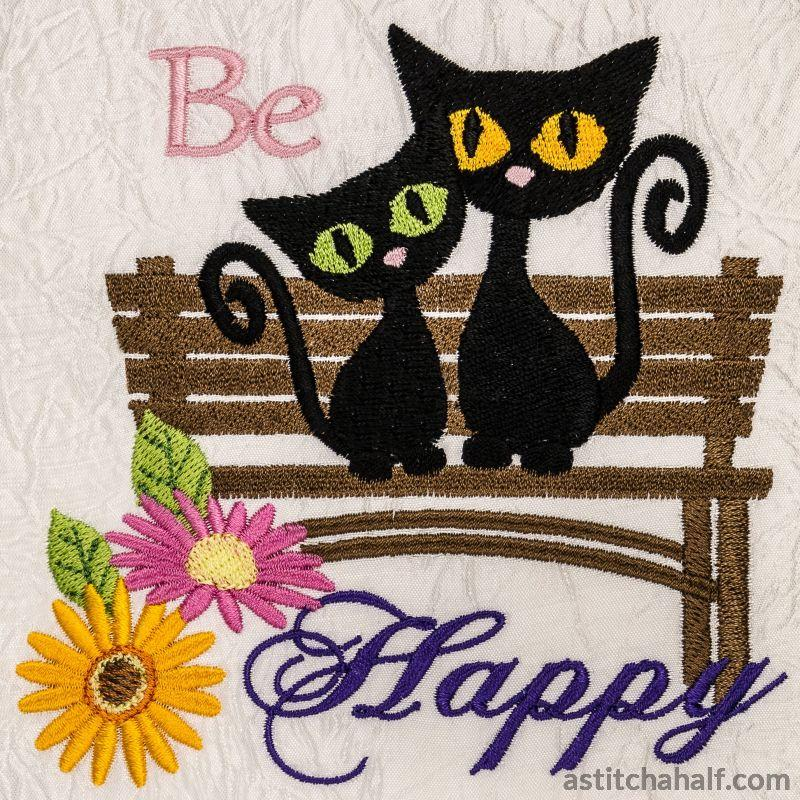 Be Happy Garden Seat with Kittens - astitchahalf