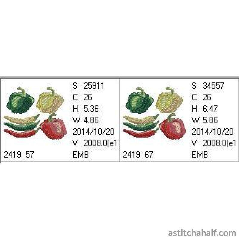 Bell Pepper and Chili Assortment - a-stitch-a-half