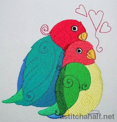Birds In Love Embroidery Fill