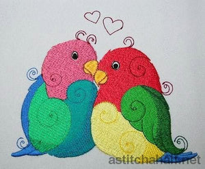 Breeding Parrots Embroidery Fill