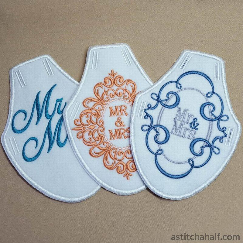 Bride Groom Bottle Aprons - a-stitch-a-half
