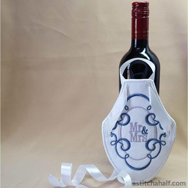 Bride Groom Bottle Aprons - astitchahalf