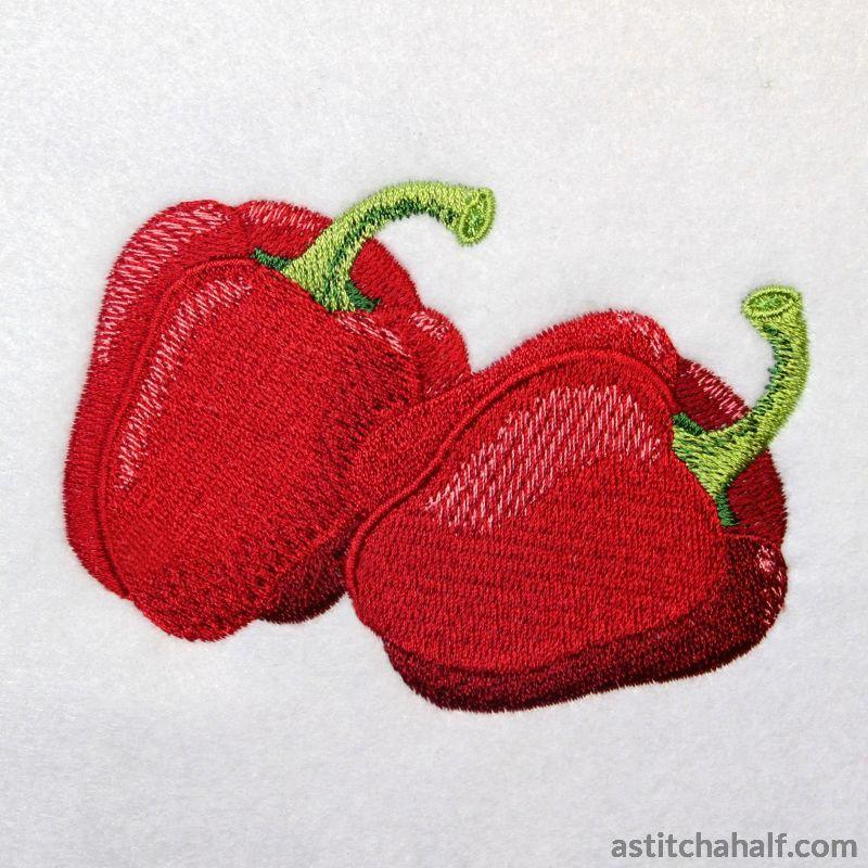 Brilliant Red Bell Peppers - a-stitch-a-half