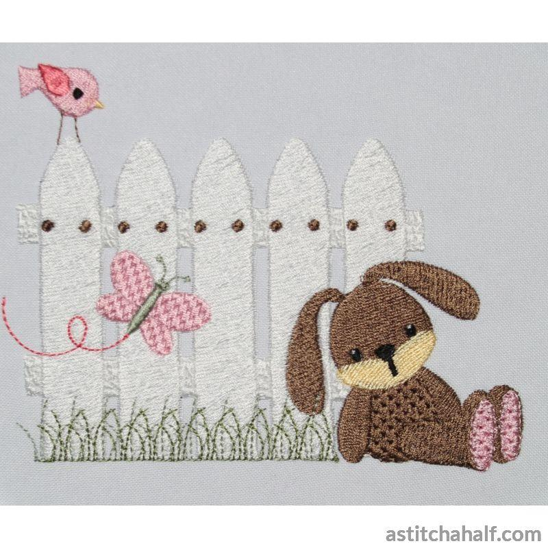 Bunny at Picket Fence - astitchahalf