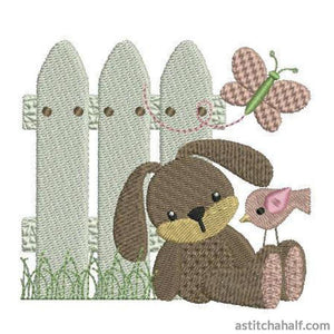 Bunny at Picket Fence - a-stitch-a-half