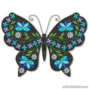 Butterfly Black and Blue Brandeis - a-stitch-a-half
