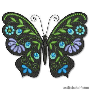Butterfly Black and Blue Han - astitchahalf