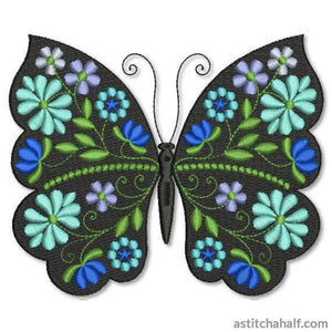 Butterfly Black and Blue Majorelle - a-stitch-a-half