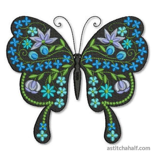 Butterfly Black and Blue Maya - astitchahalf