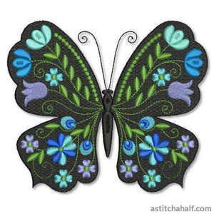 Butterfly Black and Blue Sky - astitchahalf
