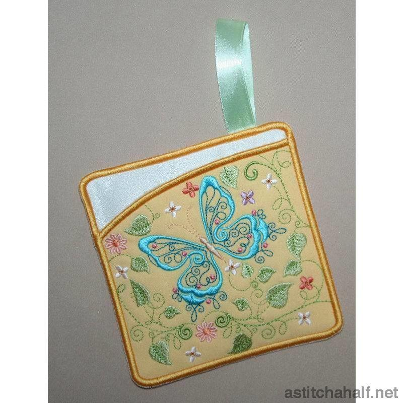 Butterfly Blue Pot Holders - a-stitch-a-half