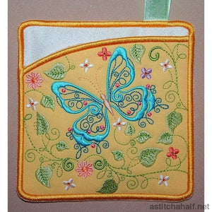 Butterfly Blue Pot Holders - astitchahalf