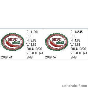 Chili Label Hot - a-stitch-a-half