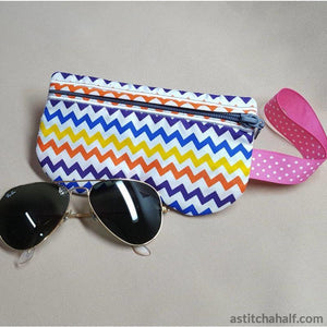 Cool Cat Eyeglass Case with ITH Zipper - a-stitch-a-half