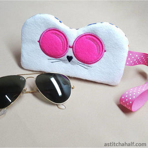 Cool Cat Eyeglass Case with ITH Zipper - astitchahalf