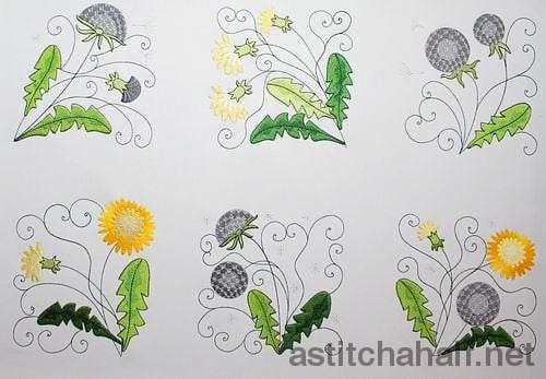 Dandelion In Bloom Combo Embroidery Fill