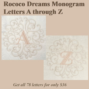 Rococo Dreams Monogram Letters A through Z - a-stitch-a-half