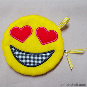 Emoji In Love Bag with in the hoop zipper - astitchahalf