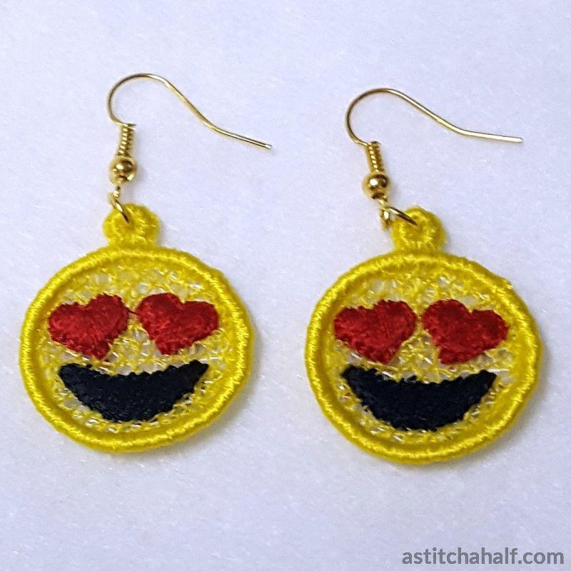 Emoji in Love Earrings Pendant Bookmark - astitchahalf