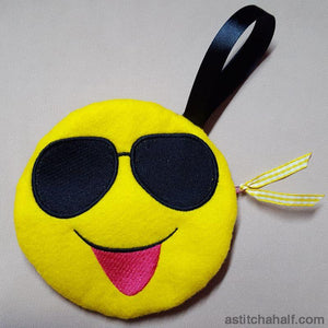 Emoji Looking Cool His Bag with in the hoop zipper - a-stitch-a-half