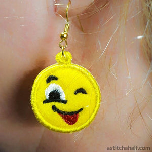 Emoji Wink Earrings Pendant Bookmark - astitchahalf