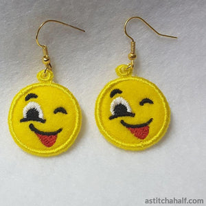 Emoji Wink Earrings Pendant Bookmark - a-stitch-a-half