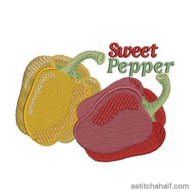 Farmers Market Sweet Peppers Red and Yellow - a-stitch-a-half