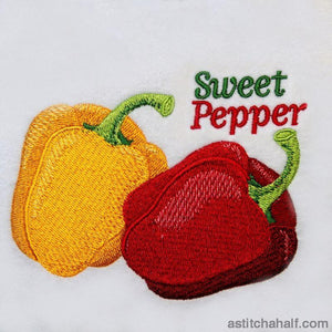 Farmers Market Sweet Peppers Red and Yellow - astitchahalf