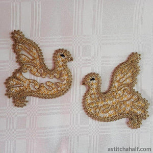 Freestanding Lace Battenberg Doves - astitchahalf