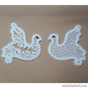 Freestanding Lace Battenberg Doves - a-stitch-a-half