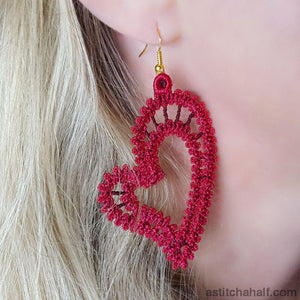 Freestanding Lace Battenburg Heart Earrings and Pendant - astitchahalf