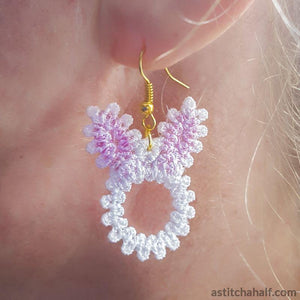 Freestanding Lace Bunny Earrings - aStitch aHalf