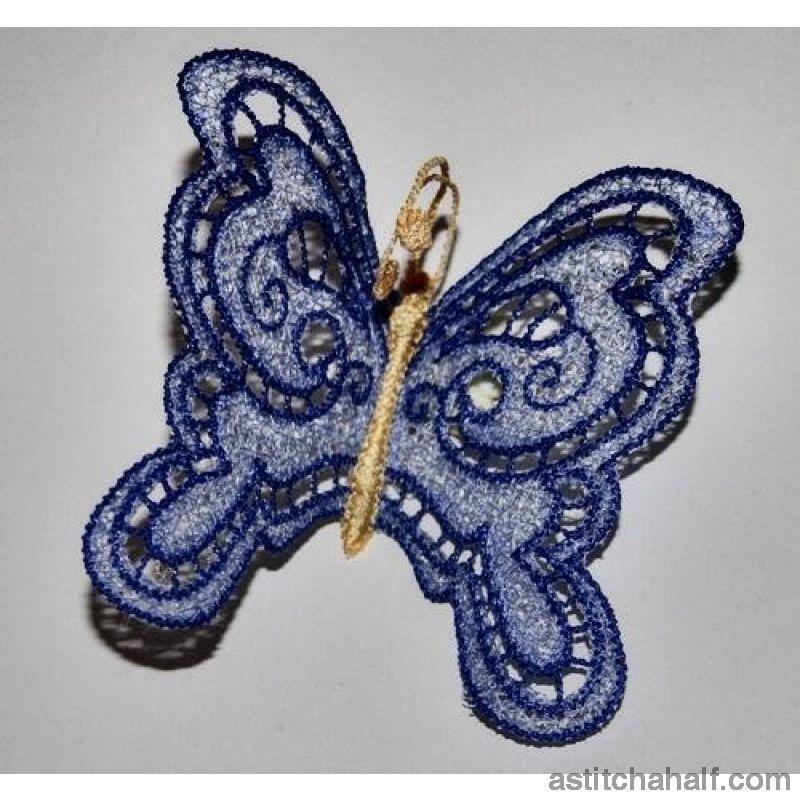 Freestanding Lace Butterfly Blue - astitchahalf