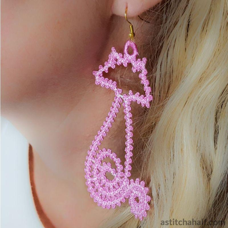 Freestanding Lace Feline Earrings - a-stitch-a-half