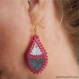 Freestanding Lace Fibonacci Earrings - a-stitch-a-half