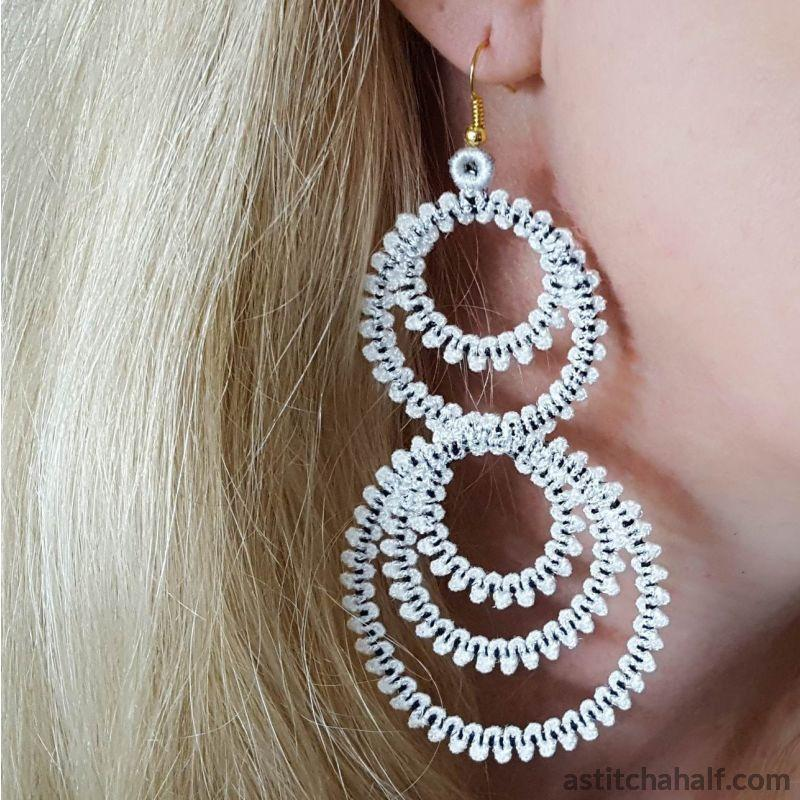 Freestanding Lace Hula Hoop Earrings - a-stitch-a-half