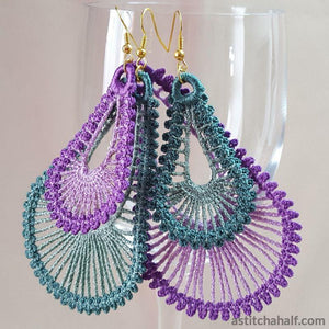Freestanding Lace Lunar Loop Earrings - a-stitch-a-half