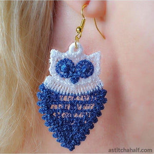 Freestanding Lace Owl Earrings - a-stitch-a-half
