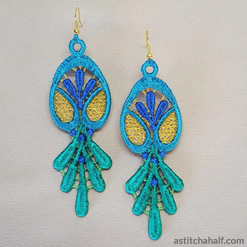 Freestanding Lace Peacock Teardrop Earrings - a-stitch-a-half