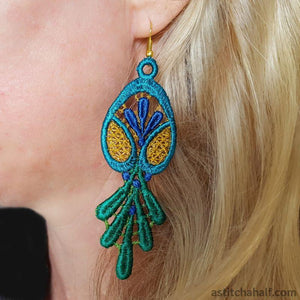 Freestanding Lace Peacock Teardrop Earrings
