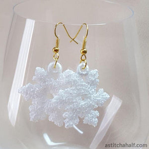 Freestanding Lace Snowflake Earrings - a-stitch-a-half