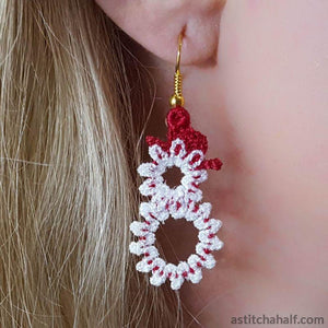 Freestanding Lace Snowman Earrings