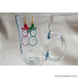 Freestanding Lace Snowman Earrings - a-stitch-a-half