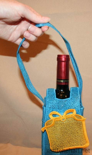 Freestanding Lace Winebag Gift - a-stitch-a-half