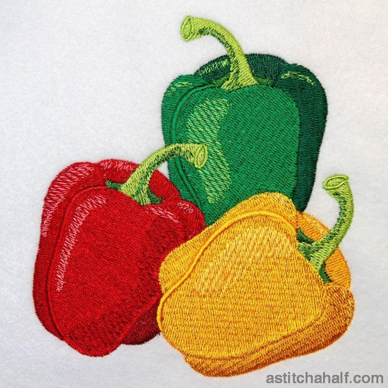 Fresh Produce Bell Peppers Red Yellow And Green Embroidery Fill