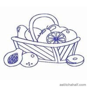 Fruity Baskets Bluework Redwork