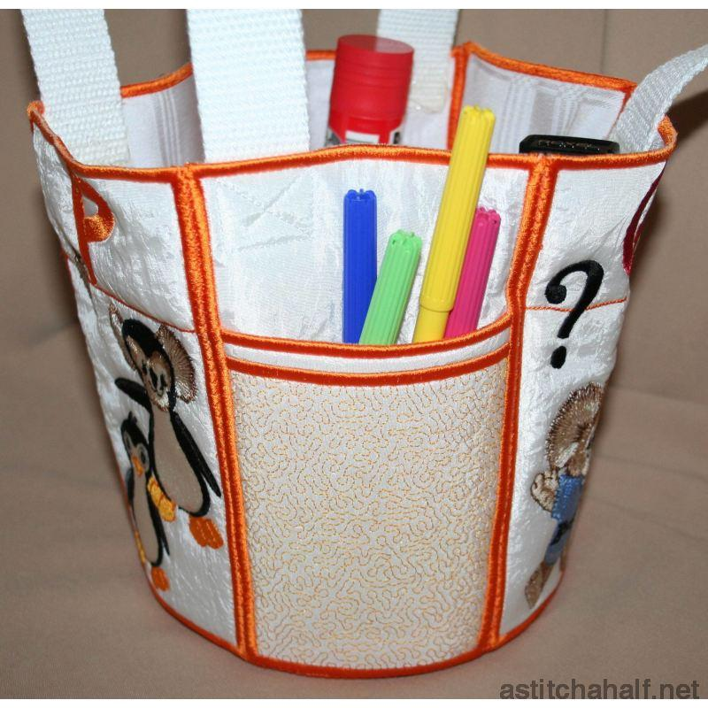 Fuzzy Bucket Tote P Q R Applique